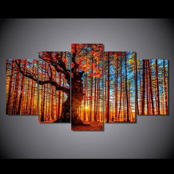 Autumn Fall Forest trees foliage 5 piece Canvas Panel Wall Art Print Living Room
