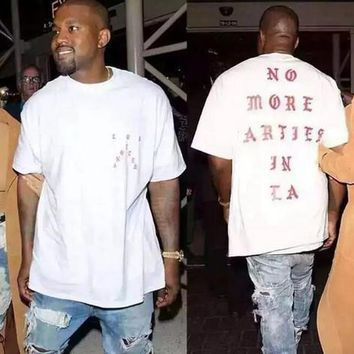 Sponge Mice Unisex No More Parties In La Kanye West Men T Shirt White New Cotton Gift - Ready Stock