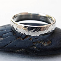 silver wedding ring men, chevron ring silver, forged ring herringbone texture, man wedding band unique, matching wedding rings his hers