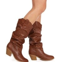 Cognac Faux Leather Cowboy Boots