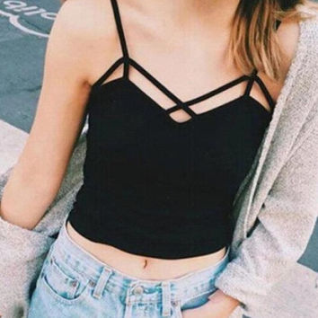 Sexy Women Cut-Out Bra Crop Bustier Bras Corset Tops Tank Top Blouse Strappy = 1956686724