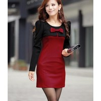 Long Sleeve Women Autumn New Style Korean Style Slim Bowknot Cotton Wine Red Mini Length Dress M/L @WH0411wr $23.68 only in eFexcity.com.