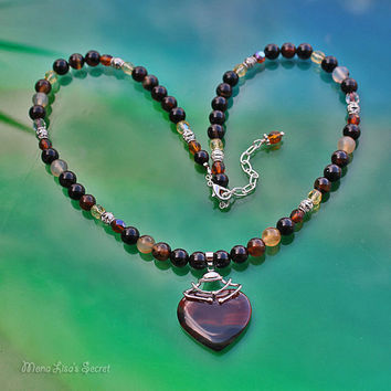 Brown Banded Agate Heart Necklace, Agate Jewelry, Brown Heart Necklace, Brown Jewelry, Heart Stone Pendant, Valentine's Day Gift