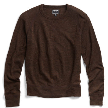Wool Crewneck Raglan in Dark Brown