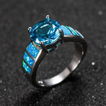 Gaxybb  Blue Ocean Claw Rings Stone Opal Fire Blue Clear Stone Women's Jewelry / Men's Commitment Band Black Gold Filled Wedding