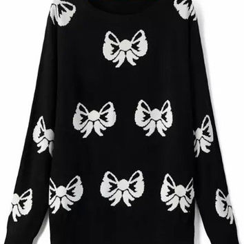 Black Ribbon Print Knit Sweater