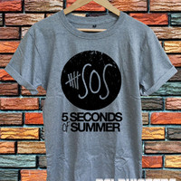 5 seconds of summer shirt 5sos tshirt t-shirt tee sport grey printed unisex size  (DL-96)