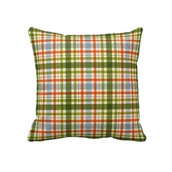 Modern Orange Plaid Throw Pillow from Zazzle.com