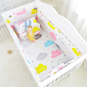 6pcs Animal Print 100%Cotton Baby Bedding Bumpers Stars Bed Around Cartoon Removable Boys and Girls Unisex Baby Bed Crib Bumper