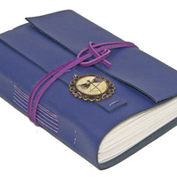 Purple Leather Journal with Dragonfly Cameo Bookmark