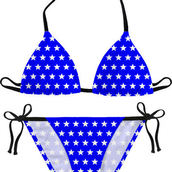 White stars on blue bikini set, girls sunbathing cotume design, stylish women swimsuit