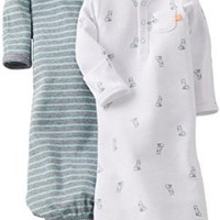 Carter's Baby Boys' 2 Pack Gowns (Baby) - White/Green - White - One Size