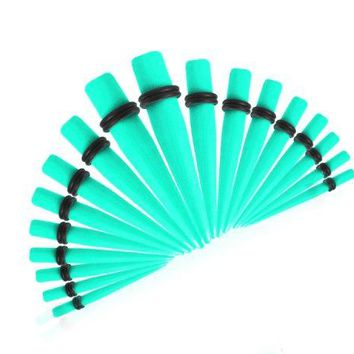BodyJ4You 18 Pieces Turquoise Ear Gauges Acrylic Taper Stretching Kit Gauges Sizes 14G-00G
