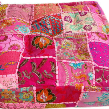 Filled & Stuffed Indian Handmade Floor Cushion; Pouf Ottoman; Pouffe pouffes, Square Pouf, Floor Pillow Ottoman, Yoga Pillow