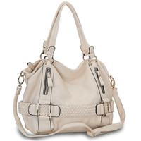 SAMANTHA Cream Weave Pattern Soft Hobo Handbag