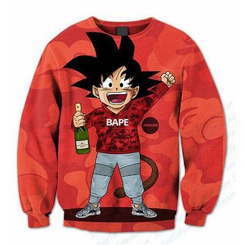 Mens 3D Sublimation print Swagged Goku Crewneck Sweatshirts Custom made Clothing Hoodie Loose Hooded Sweatshirt S-5XL R855