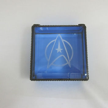 Star Trek Stained Glass Keepsake, Jewelry Box, Blue Glass Box, Gift for Him, Gift for Her, Star Fleet Symbol Engraved on Lid,
