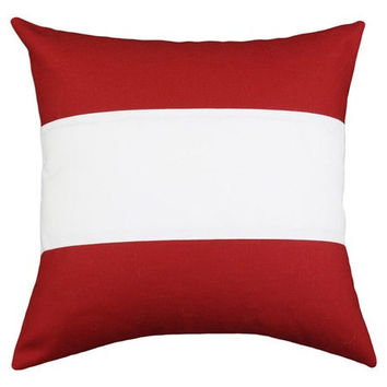 18x18 Modern Red and White Color Block Pillow Cover