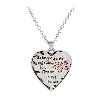 """FREE """"No longer by my side, but forever in my heart"""" Paw Llaw Shape Pendant Necklace"""