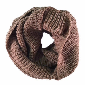 Brown Cable Knit Infinity Scarf
