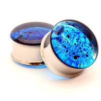 Blue Spatter Resin Plugs gauges  1/2 9/16 by mysticmetalsorganics
