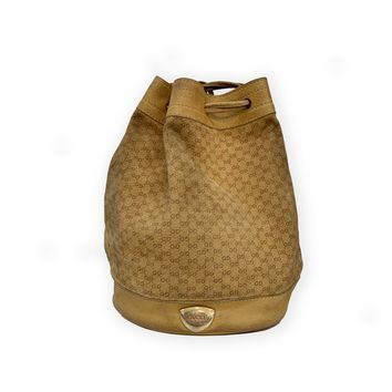 f2c0ff990 Gucci Vintage Tan Suede & Leather Monogram Bucket Bag