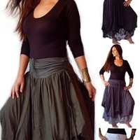Layered Stretch Jersey and Lace Skirt with Ruching Ties