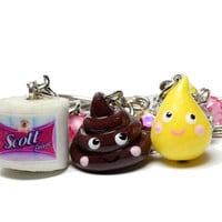 Poop Pee and Toilet Paper Best Friend Keychains  BFF by BitOfSugar
