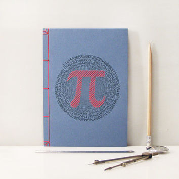 "Pi Number. ""π"". Geometry Embroidered A5 Notebook. Mathematics Journal. Maths Men's Book. Blue Notebook. Sciences Art Book. Geometry Journal"