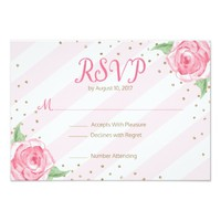 pink watercolor floral bridal shower RSVP cards