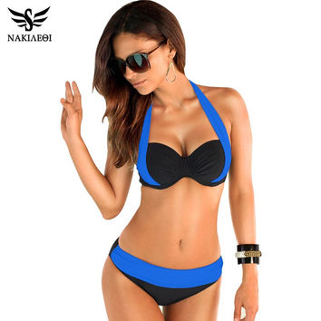 Sexy Bikinis Women Swimsuit High Waisted Bathing Suits Swim Halter Top Push Up Bikini Set Plus Size Swimwear XXL cute swimwear