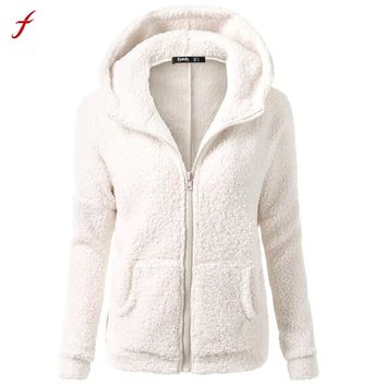 2017 Women Winter Warm Wool Jacket Parka Hooded Zip Up Hooded Wool Hooded Long Sleeve Hoodies Plus Size 5XL