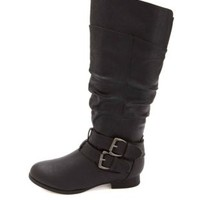 Belted Knee-High Riding Boots by Charlotte Russe - Black