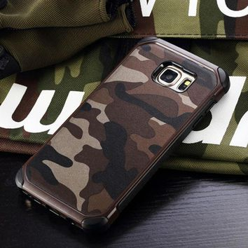 ONETOW Military Camo Hard Shockproof Cover Case For Samsung Galaxy S6 Edge Plus S7 Edge Camouflage Fundas For Samsung Note 4 Note 5