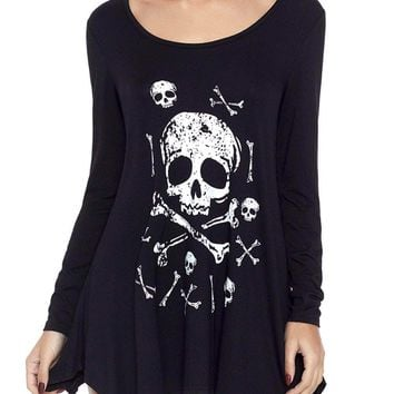 Black Handkerchief Hem Skull Tunic Top