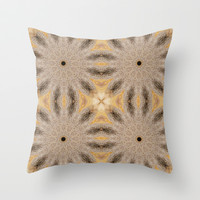 Beige & Taupe Sunburst Flowers Throw Pillow by 2sweet4words Designs | Society6