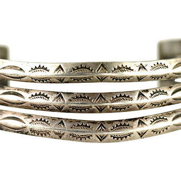 Navajo Stamp-Work Triple-Cuff Bracelet