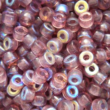 Fifty 6mm Czech glass Transparent Light Amethyst, AB pony roller beads, large hole crow beads, C7450