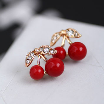 Charming  Rhinestone Red Cherry Ear Stud Earrings