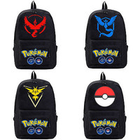 NEW Pokemon Go Backpack Canvas Black School Bag Rucksack Travel Bags
