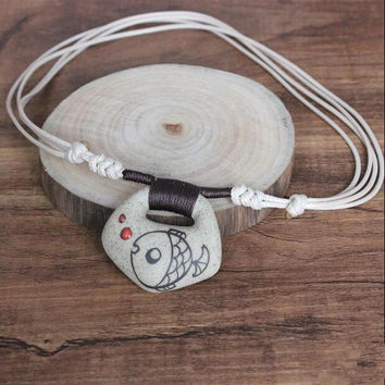 2015 Chinese Ceramic Necklace Vintage Clay Fish Pendant rope chain Necklace for women jewelry accessories