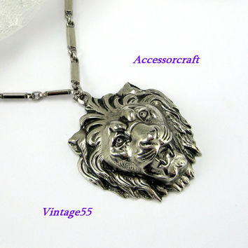 Anne Klein Necklace Pendant Lion Silver tone