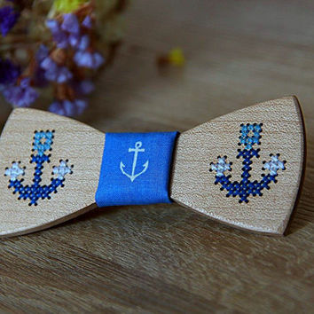 Wooden bow tie with hand embroidered anchor. Maple bowtie with hand embroidery deer. 100% handcraft. Unique best gift. hand stitching