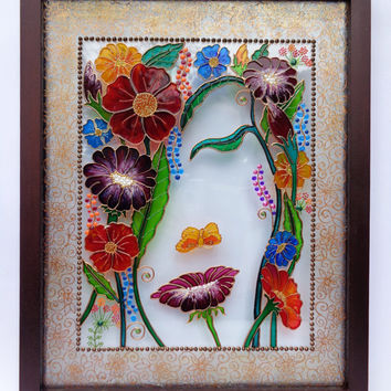 "Flower art 15""x12"" Glass painting Bohemian decor Wall decor Painted glass"