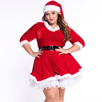 VONE2B5 Sexy Keen Length Plus Size Christmas Party Dress Women Velvet Winter Dress Women 2016 White Lace Santa Dress