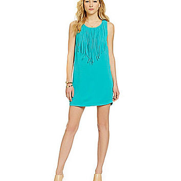 Sugarlips Fringe Shift Dress - Teal