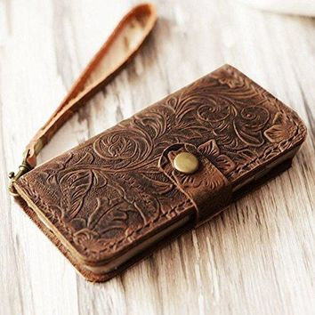 Genuine Italian Leather Wallet Case for Iphone 8 plus / iPhone 7 plus(5.5 inch)flip Case Handmade Luxury Retro classic cover slim Wristlet Tooled Flower Brown