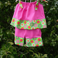 """Custom Boutique Clothing , """"Inspired by Grace"""", Pink and Lime green pillowcase-capri"""