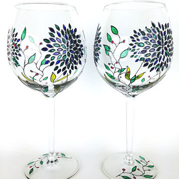 Wine Glasses, Wedding Glasses, Toasting Glasses,   Anniversary glasses with Swarovski  Crystals, Goblets, Hand painted, Set of 2