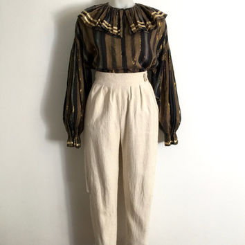 Vintage 1970s 'Thornton Hall' striped gold lurex pirate blouse with frilled collar and voluminous gathered sleeves / Made in New Zealand